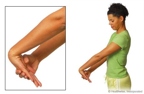 The wrist extensor stretch