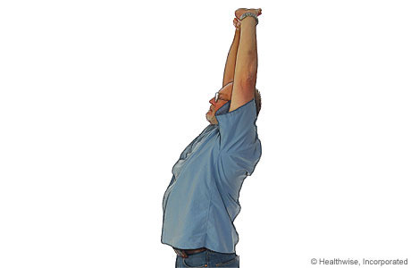 Overhead stretch to ease shoulder aches and fatigue